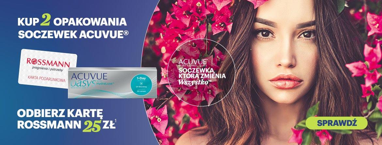 Kup 2 dowolne opakowania soczewek kontaktowe Acuvue a otrymasz kartę rabatowa Rossman o wartości 25 zł w prezencie
