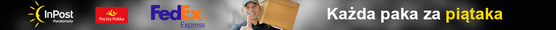 Niezależnie od wielkości zamówienia oraz tego czy zamówione zostały - soczewki kontaktowe, płyny pielegnacyjne, krople do oczu lub okulary kazda wysyłka to koszt 5 zł. Wybierz kuriera Fedex, paczkomat Inpost lub pocztę tak jak wolisz i tak zapłacisz tylko 5 zł.